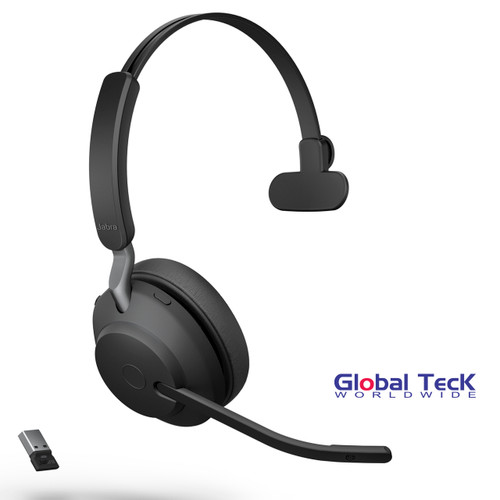 Jabra Evolve2 65 Mono Wireless Headset (Black) | MS Version | Includes USB Bluetooth Dongle | Compatible with Windows PC, MAC, Smartphone, Streaming Music, Skype, IP Communications | 26599-899-999