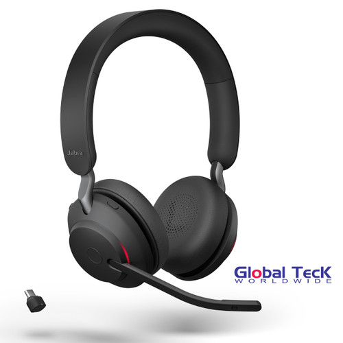 Jabra Evolve2 65 Stereo Wireless Headset (Black) | UC Version | Includes USB-C Bluetooth Dongle | Compatible with Softphones, Smartphones, Tablets, PC/MAC | 26599-989-899