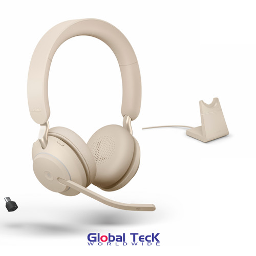 Jabra Evolve2 65 Stereo Wireless Headset (Beige) | MS Version | Includes USB-C Bluetooth Dongle and Charging Stand | Compatible with Windows PC, MAC, Smartphone, Streaming Music, Skype, IP Communications | 26599-999-888