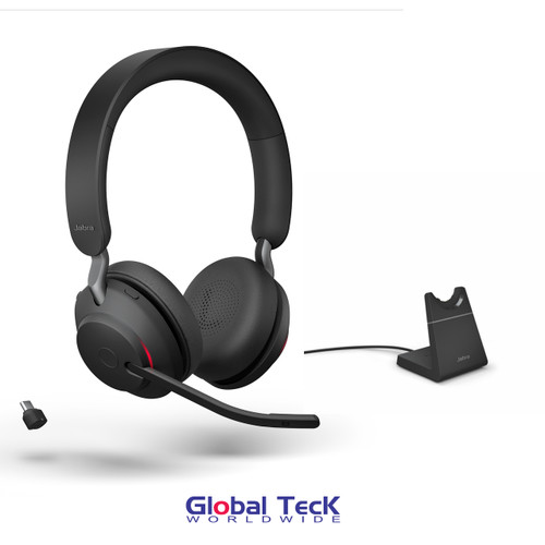 Jabra Evolve2 65 Stereo Wireless Headset (Black)   MS Version   Includes USB-C Bluetooth Dongle and Charging Stand   Compatible with Windows PC, MAC, Smartphone, Streaming Music, Skype, IP Communications   26599-999-889