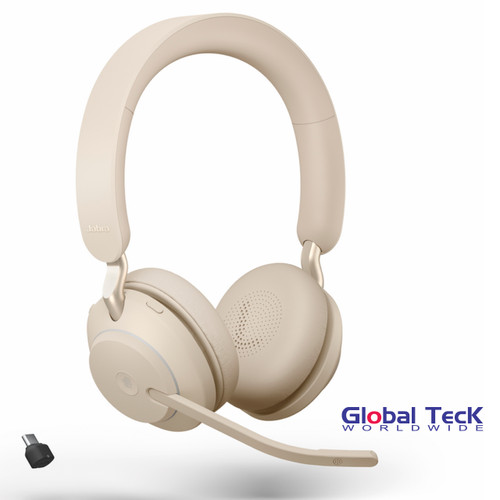 Jabra Evolve2 65 Stereo Wireless Headset (Beige) | MS Version | Includes USB-C Bluetooth Dongle | Compatible with Windows PC, MAC, Smartphone, Streaming Music, Skype, IP Communications | 26599-999-898