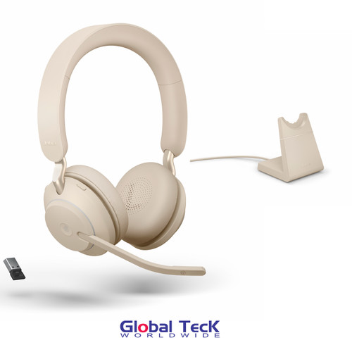 Jabra Evolve2 65 Stereo Wireless Headset (Beige)   MS Version   Includes USB Bluetooth Dongle and Charging Stand   Compatible with Windows PC, MAC, Smartphone, Streaming Music, Skype, IP Communications   26599-999-988