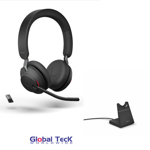 Jabra Evolve2 65 Stereo Wireless Headset (Black)   MS Version   Includes USB Bluetooth Dongle and Charging Stand   Compatible with Windows PC, MAC, Smartphone, Streaming Music, Skype, IP Communications   26599-999-989