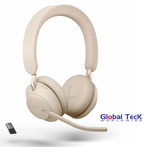 Jabra Evolve2 65 Stereo Wireless Headset (Beige)   MS Version   Includes USB Bluetooth Dongle   Compatible with Windows PC, MAC, Smartphone, Streaming Music, Skype, IP Communications   26599-999-998
