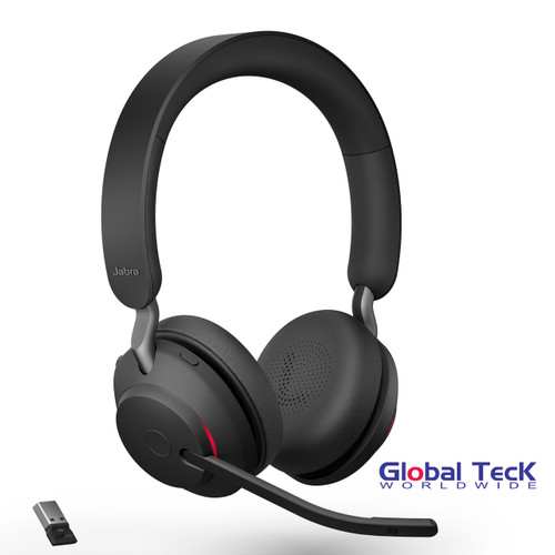 Jabra Evolve2 65 Stereo Wireless Headset (Black) | MS Version | Includes USB Bluetooth Dongle | Compatible with Windows PC, MAC, Smartphone, Streaming Music, Skype, IP Communications | 26599-999-999