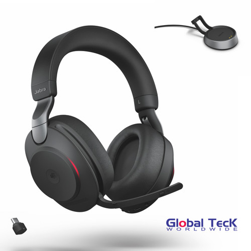 Jabra Evolve2 85 Stereo Bluetooth Wireless Headset | MS (Black) Version | Includes USB-C Bluetooth Dongle and Charging Stand | Compatible with Windows PC, MAC, Smartphone, Streaming Music, Skype, IP Communications | 28599-999-889