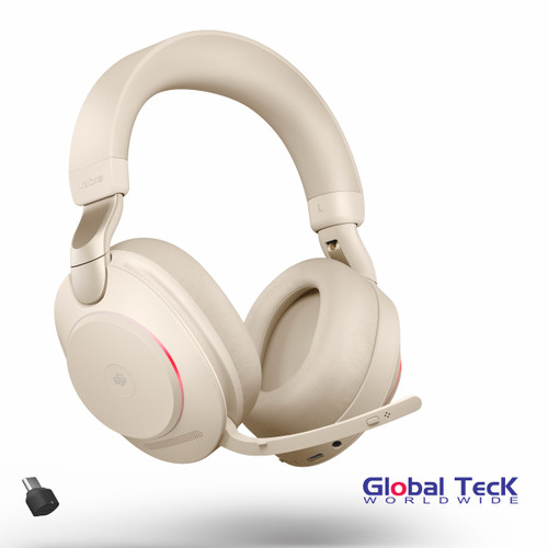 Jabra Evolve2 85 Stereo Bluetooth Wireless Headset | MS (Beige) Version | Includes USB-C Bluetooth Dongle | Compatible with Windows PC, MAC, Smartphone, Streaming Music, Skype, IP Communications | 28599-999-898