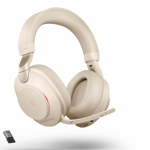 Jabra Evolve2 85 Stereo Bluetooth Wireless Headset | MS (Beige) Version | Includes USB Bluetooth Dongle | Compatible with Windows PC, MAC, Smartphone, Streaming Music, Skype, IP Communications | 28599-999-998