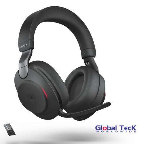 Jabra Evolve2 85 Stereo Bluetooth Wireless Headset | MS (Black) Version | Includes USB Bluetooth Dongle | Compatible with Windows PC, MAC, Smartphone, Streaming Music, Skype, IP Communications | 28599-999-999
