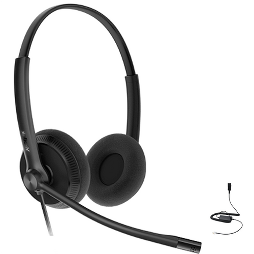 Yealink YHS34 Lite Duo Wired Headset (Lite), Connects to Deskphone, PC/Mac, Softphones - Works with Teams, Zoom, RingCentral, 8x8, Vonage, Bonus