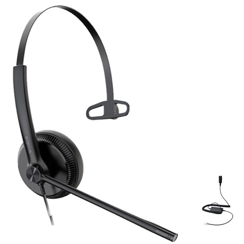 Yealink YHS34 Mono Wired Headset, Connects to Deskphone, PC/Mac, Softphones - Works with Teams, Zoom, RingCentral, 8x8, Vonage,
