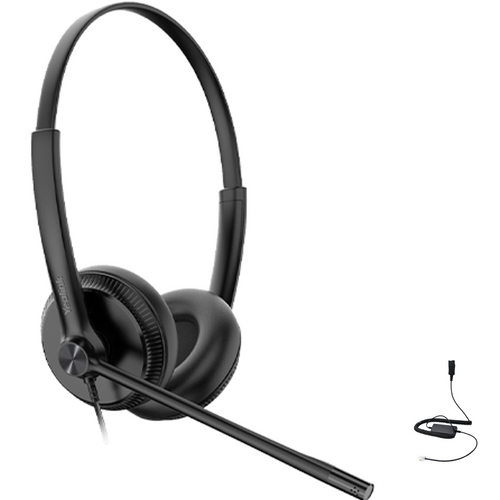 Yealink YHS34 Duo Wired Headset, Connects to Deskphone, PC/Mac, Softphones - Works with Teams, Zoom, RingCentral, 8x8, Vonage
