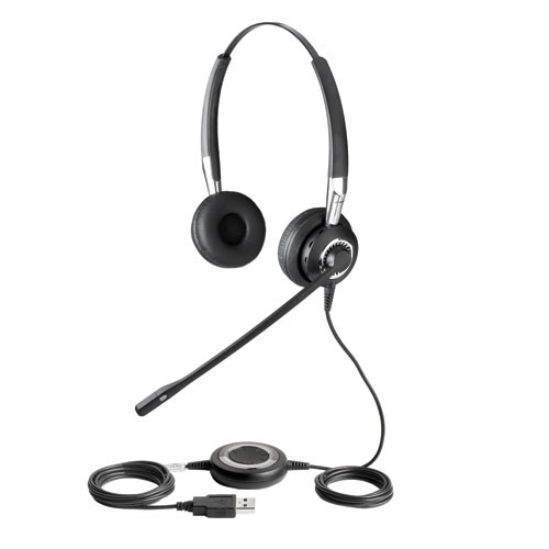 JabraJabra BIZ 2400 Stereo USB and Bluetooth headset | Cisco, Skype, Office Communicator and softphones | with noise-canceling mic, #2499-823-105