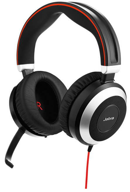 Jabra Evolve 80 UC Stereo Headset #7899-829-209 Environmental Noise Filtering and Large Ear Cups | Includes USB/PC Connector & 3.5mm jack for Smartphones/Tablets with Sound Controls