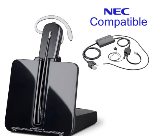 NEC Compatible Plantronics Cordless Headset Bundle -CS540 EHS with Electronic Remote Answerer | NEC phones: DSX 34B BL, DSX 34B, FDX, DTR, DTH, DTL, DT 750, DT 730,DT 330