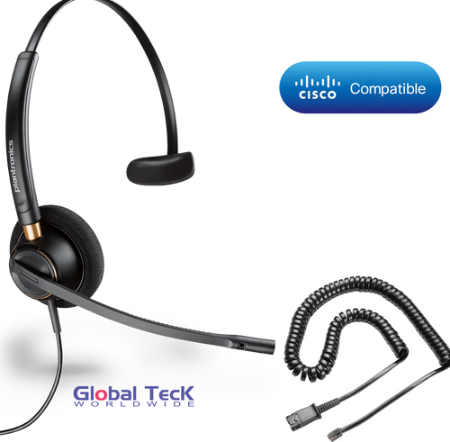 Plantronics ENCOREPRO 510 (HW510) Direct Connect for Cisco phones |  7931G, 7940, 7941G, 7942G, 7945G, 7960, 7961, 7961G, 7962G, 7965G, 7970, 7971,7971G, 7975, 7975G and other models with RJ-9 headset port