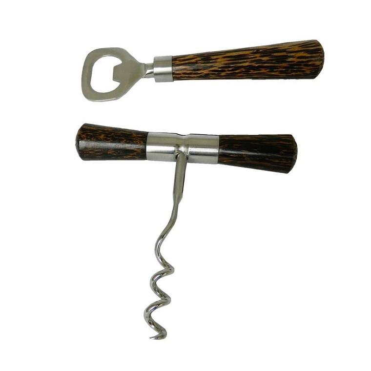 Coconut Wood Handle Corkscrew & Bottle Opener Set