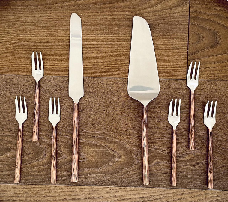 Copper Antique 8 Pc. Cake Server and Pastry Forks Set