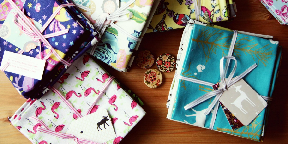 Bundles of fabric perfect for sewing gifts