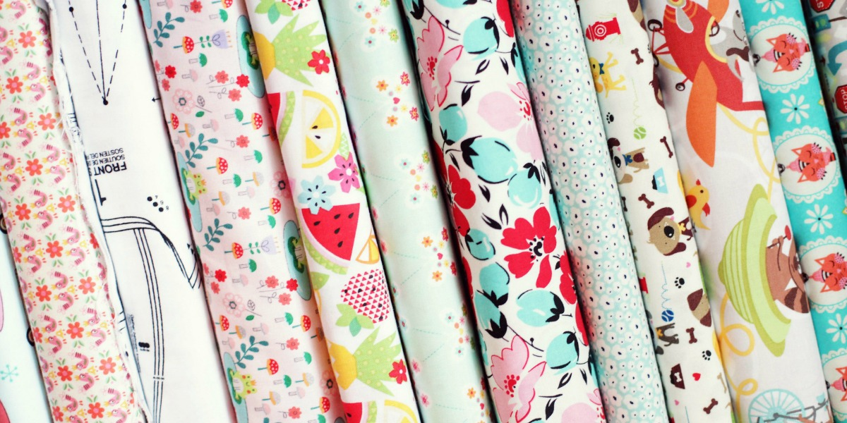 Bolts of pretty cotton fabric perfect for sewing