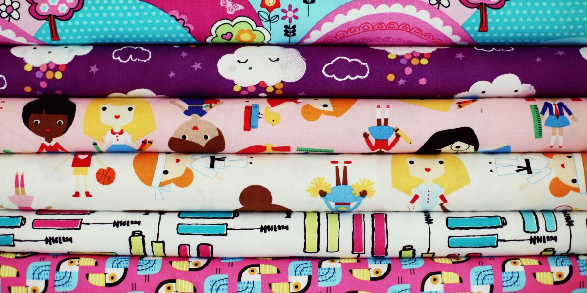 A collection of bright and colouful cotton fabrics perfect for sewing and quilting