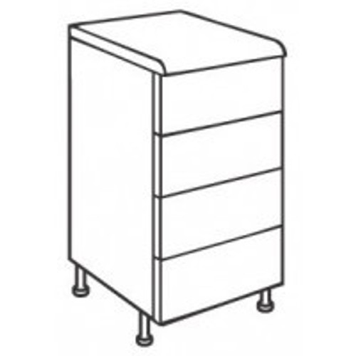 Paris Matt Grey 500mm 4 Drawer Base Unit (soft-close)