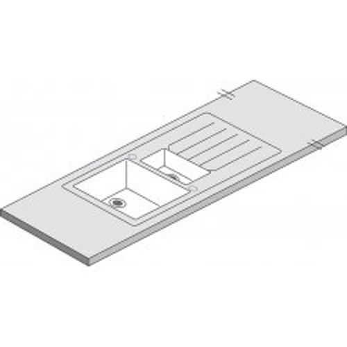 Maia Vulcano White Acrylic Duo 1.5 Sink - 1800 x 650 x 42mm/28mm