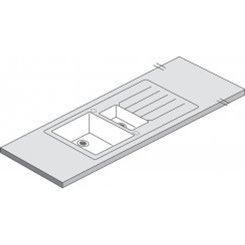 Maia Vulcano 1.5 Duo White Acrylic Sink - 3600 x 650 x 42mm/28mm