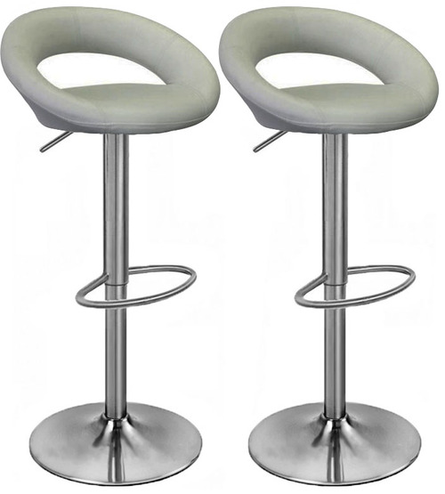 Pair of Sorrento Kitchen Brushed Bar Stools Grey