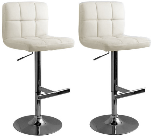 Fantastic Pair Of Allegro Leather Brushed Bar Stools White Pabps2019 Chair Design Images Pabps2019Com