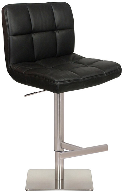 Deluxe Allegro Leather Brushed Bar Stool Black