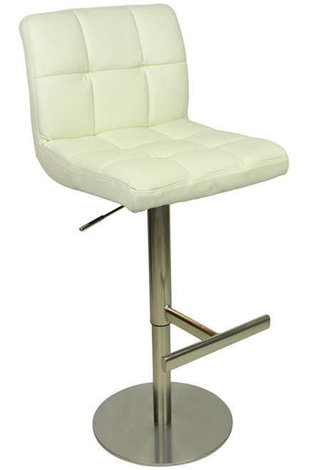 Deluxe Allegro Leather Brushed Bar Stool White