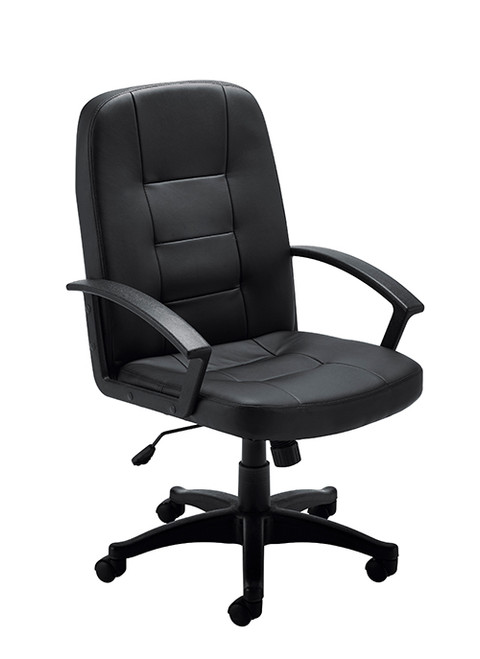 Essentials Executive Jack Leather Look Managers High Back Chair Black