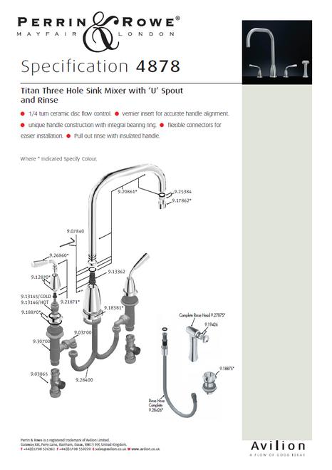 Perrin & Rowe Titan - U Spout 4878 (with Rinse) Kitchen Tap