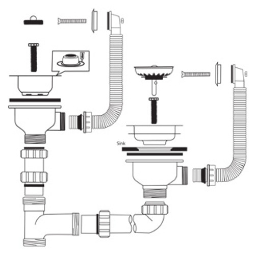 Caple Waste And Bowl Connection Kit 11 Strainer Waste