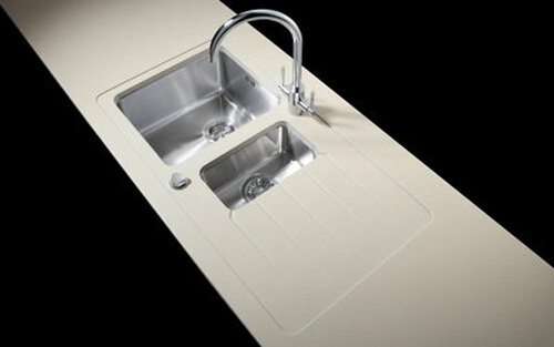 Minerva Grey Crystal Acrylic Sink Modules 3050 x 650mm 1.5 bowl s/steel (seperate bowls)