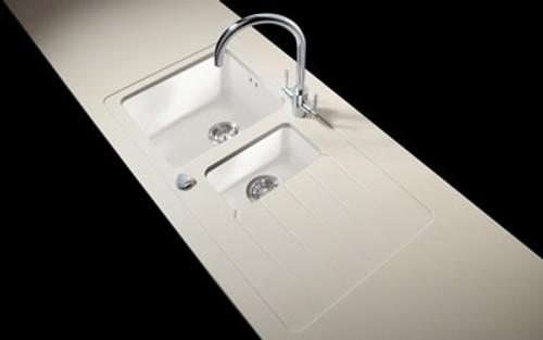 Minerva Grey Crystal Acrylic Sink Modules 3050 x 650mm 1.5 bowl white acrylic