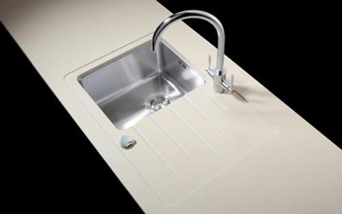 Minerva Sparkling White Acrylic Sink Modules 3050 x 650mm standard sink bowl s/steel