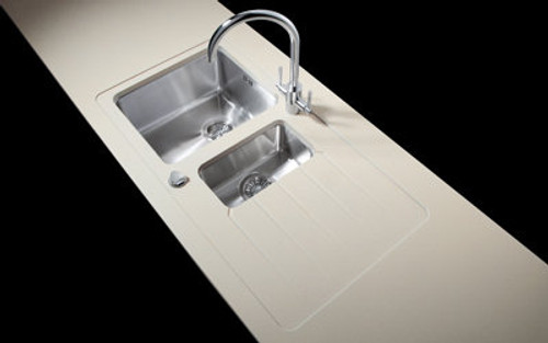 Minerva Sparkling White Acrylic Sink Modules 3050 x 650mm 1.5 bowl s/steel (seperate bowls)