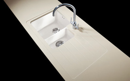 Minerva Sparkling White Acrylic Sink Modules 3050 x 650mm 1.5 designer bowl white acrylic
