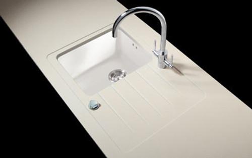 Minerva Travertine Haze Acrylic Sink Modules 3050 x 650mm single bowl white acrylic