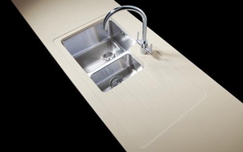 Minerva Travertine Haze Acrylic Sink Modules 3050 x 650mm 1.5 designer bowl s/steel