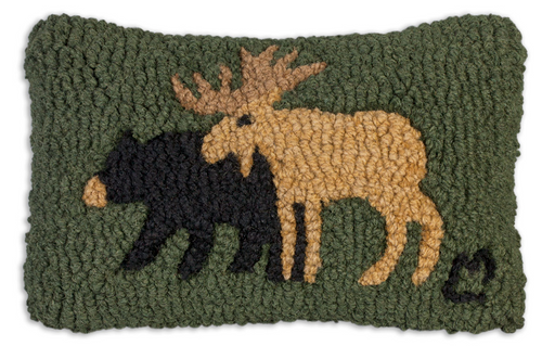 Moose And Bear - Hooked Wool Pillow
