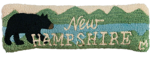 New Hampshire Bear Hooked Wool Pillow by Chandler 4 Corners