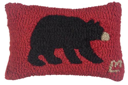 Black Bear - Hooked Wool Pillow