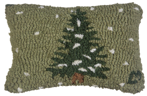 Flurries - Hooked Wool Pillow