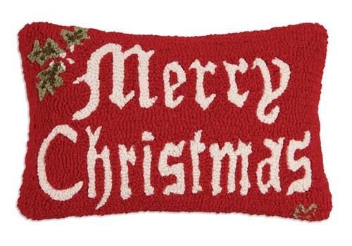 Merry Christmas II - Hooked Wool Pillow
