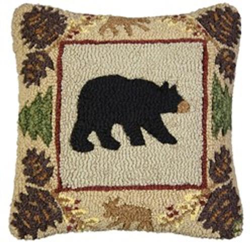 Northwoods Bear - Hooked Wool Pillow