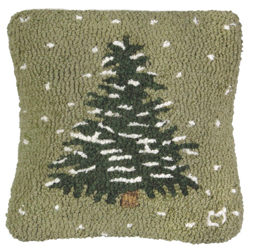Flurries Frosted Tree - Hooked Wool Pillow