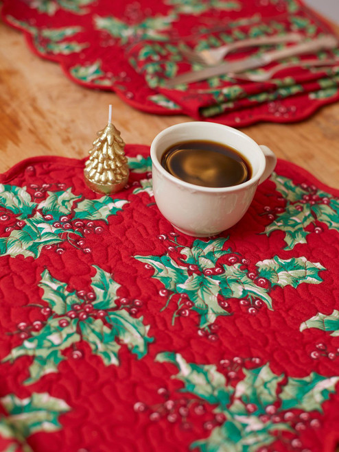 Holly Quilted Placemats by April Cornell
